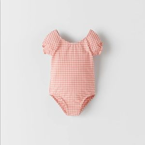 NWT Zara 9-10Y textured pink gingham one piece bathing suit